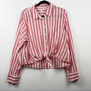 J. CREW Red White Striped Knotted Button Up Cropped Long Sleeve Top Nautical XXL